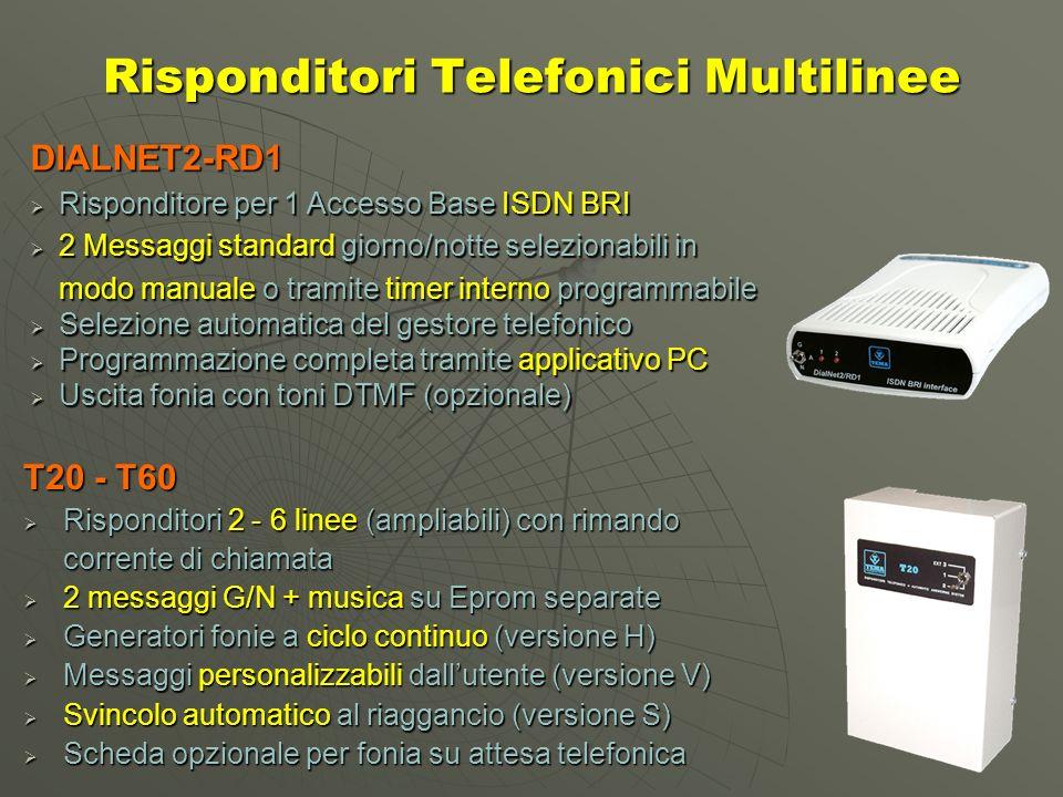 Risponditori Telefonici Multilinee T20 - T60 Risponditori 2 - 6 linee (ampliabili) con rimando Risponditori 2 - 6 linee (ampliabili) con rimando corrente di chiamata 2 messaggi G/N + musica su Eprom separate 2 messaggi G/N + musica su Eprom separate Generatori fonie a ciclo continuo (versione H) Generatori fonie a ciclo continuo (versione H) Messaggi personalizzabili dallutente (versione V) Messaggi personalizzabili dallutente (versione V) Svincolo automatico al riaggancio (versione S) Svincolo automatico al riaggancio (versione S) Scheda opzionale per fonia su attesa telefonica Scheda opzionale per fonia su attesa telefonica DIALNET2-RD1 Risponditore per 1 Accesso Base ISDN BRI Risponditore per 1 Accesso Base ISDN BRI 2 Messaggi standard giorno/notte selezionabili in 2 Messaggi standard giorno/notte selezionabili in modo manuale o tramite timer interno programmabile Selezione automatica del gestore telefonico Selezione automatica del gestore telefonico Programmazione completa tramite applicativo PC Programmazione completa tramite applicativo PC Uscita fonia con toni DTMF (opzionale) Uscita fonia con toni DTMF (opzionale)
