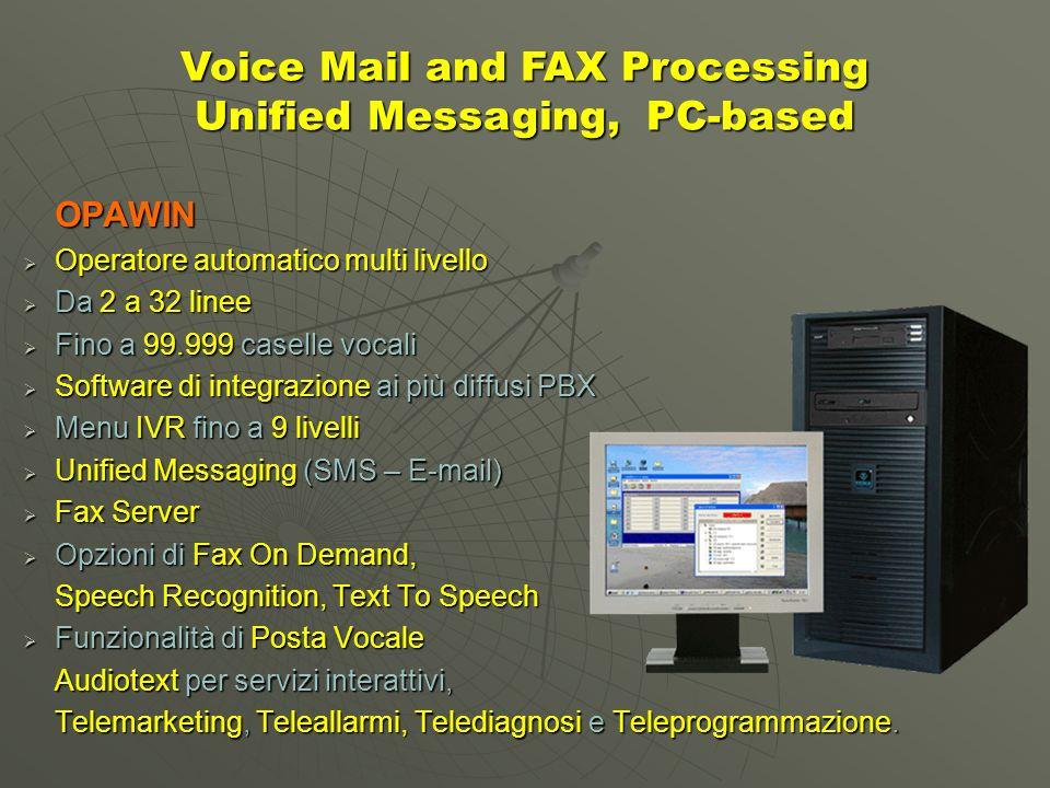 OPAWIN Operatore automatico multi livello Operatore automatico multi livello Da 2 a 32 linee Da 2 a 32 linee Fino a 99.999 caselle vocali Fino a 99.999 caselle vocali Software di integrazione ai più diffusi PBX Software di integrazione ai più diffusi PBX Menu IVR fino a 9 livelli Menu IVR fino a 9 livelli Unified Messaging (SMS – E-mail) Unified Messaging (SMS – E-mail) Fax Server Fax Server Opzioni di Fax On Demand, Opzioni di Fax On Demand, Speech Recognition, Text To Speech Funzionalità di Posta Vocale Funzionalità di Posta Vocale Audiotext per servizi interattivi, Telemarketing, Teleallarmi, Telediagnosi e Teleprogrammazione.