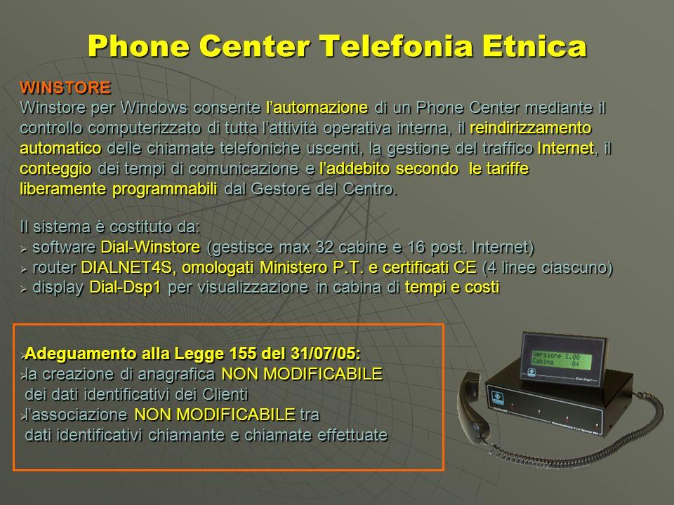 Phone Center Telefonia Etnica WINSTORE Winstore per Windows consente lautomazione di un Phone Center mediante il controllo computerizzato di tutta lattività operativa interna, il reindirizzamento automatico delle chiamate telefoniche uscenti, la gestione del traffico Internet, il conteggio dei tempi di comunicazione e laddebito secondo le tariffe liberamente programmabili dal Gestore del Centro.