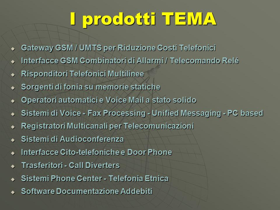 I prodotti TEMA I prodotti TEMA Gateway GSM / UMTS per Riduzione Costi Telefonici Gateway GSM / UMTS per Riduzione Costi Telefonici Interfacce GSM Combinatori di Allarmi / Telecomando Relé Interfacce GSM Combinatori di Allarmi / Telecomando Relé Risponditori Telefonici Multilinee Risponditori Telefonici Multilinee Sorgenti di fonia su memorie statiche Sorgenti di fonia su memorie statiche Operatori automatici e Voice Mail a stato solido Operatori automatici e Voice Mail a stato solido Sistemi di Voice - Fax Processing - Unified Messaging - PC based Sistemi di Voice - Fax Processing - Unified Messaging - PC based Registratori Multicanali per Telecomunicazioni Registratori Multicanali per Telecomunicazioni Sistemi di Audioconferenza Sistemi di Audioconferenza Interfacce Cito-telefoniche e Door Phone Interfacce Cito-telefoniche e Door Phone Trasferitori - Call Diverters Trasferitori - Call Diverters Sistemi Phone Center - Telefonia Etnica Sistemi Phone Center - Telefonia Etnica Software Documentazione Addebiti Software Documentazione Addebiti