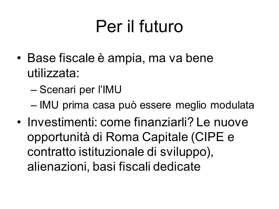 Per il futuro Base fiscale è ampia, ma va bene utilizzata: –Scenari per lIMU –IMU prima casa può essere meglio modulata Investimenti: come finanziarli