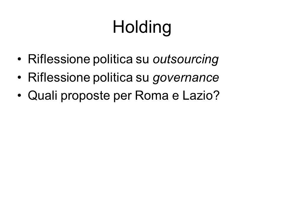 Holding Riflessione politica su outsourcing Riflessione politica su governance Quali proposte per Roma e Lazio
