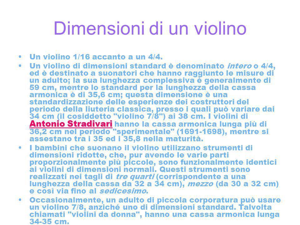 Dimensioni di un violino Un violino 1/16 accanto a un 4/4.