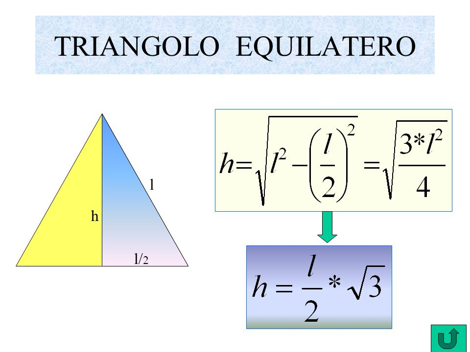 TRIANGOLO ISOSCELE b l h b/ 2