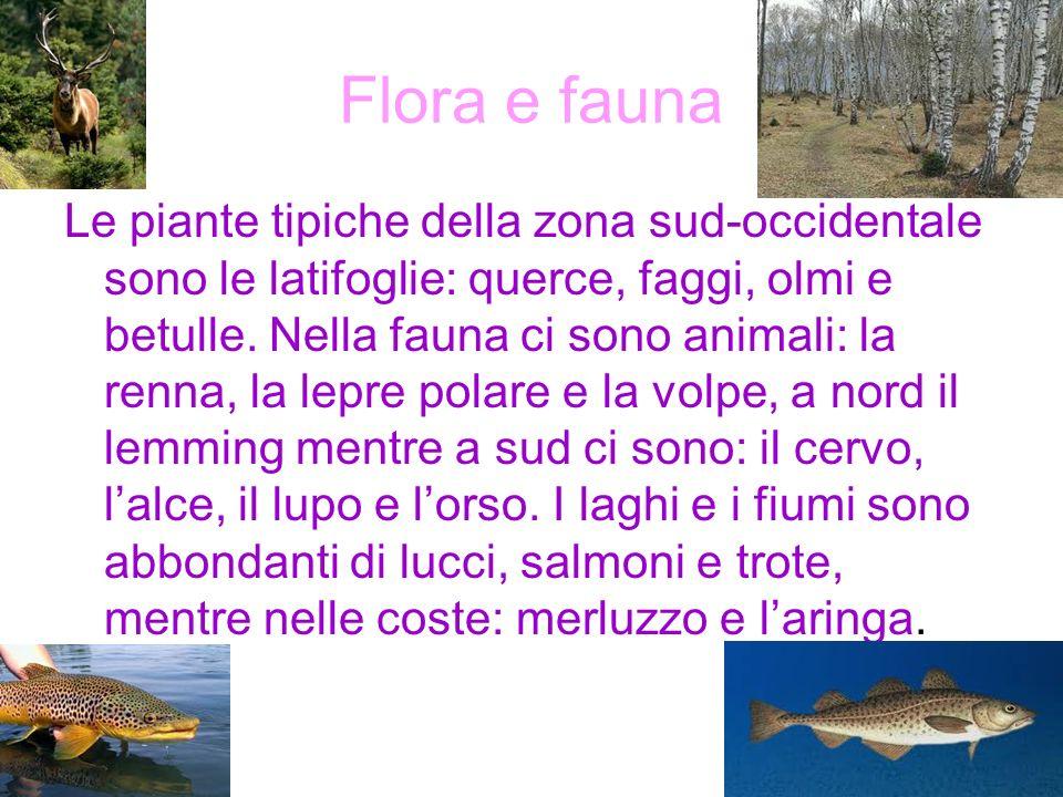 Flora e fauna Le piante tipiche della zona sud-occidentale sono le latifoglie: querce, faggi, olmi e betulle. Nella fauna ci sono animali: la renna, l