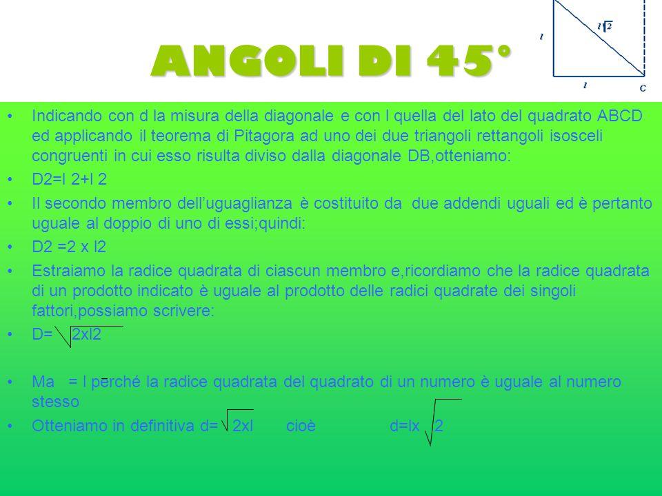ANGOLI DI 45° Indicando con d la misura della diagonale e con l quella del lato del quadrato ABCD ed applicando il teorema di Pitagora ad uno dei due