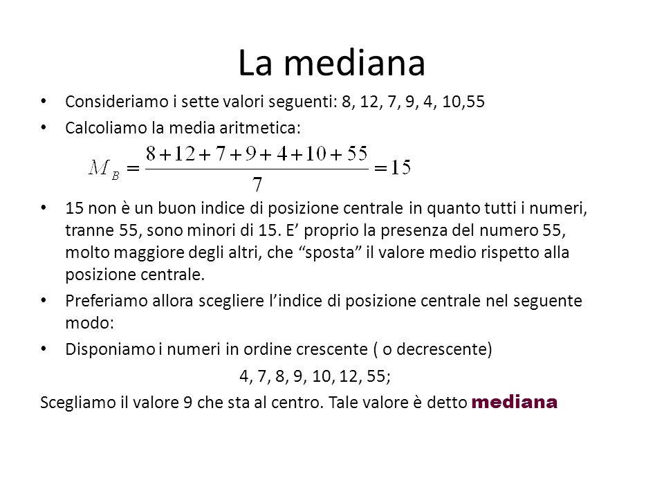 La mediana Consideriamo i sette valori seguenti: 8, 12, 7, 9, 4, 10,55 Calcoliamo la media aritmetica: 15 non è un buon indice di posizione centrale i