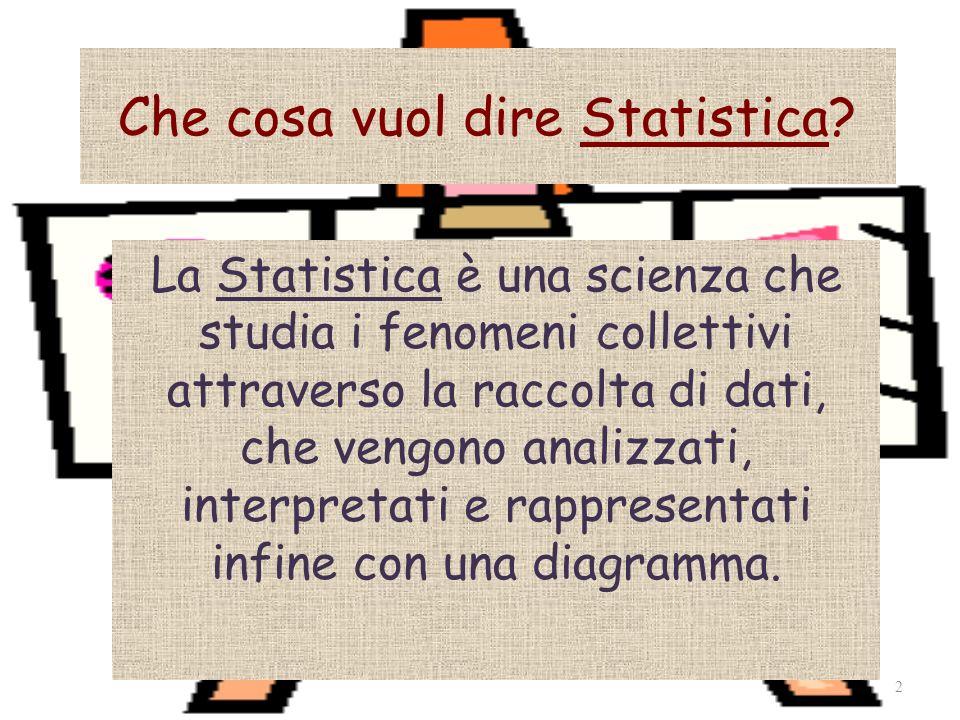Che cosa vuol dire Statistica? La Statistica è una scienza che studia i fenomeni collettivi attraverso la raccolta di dati, che vengono analizzati, in