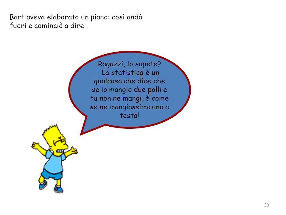 30 Bart aveva elaborato un piano: così andò fuori e cominciò a dire… Ragazzi, lo sapete? La statistica è un qualcosa che dice che se io mangio due pol