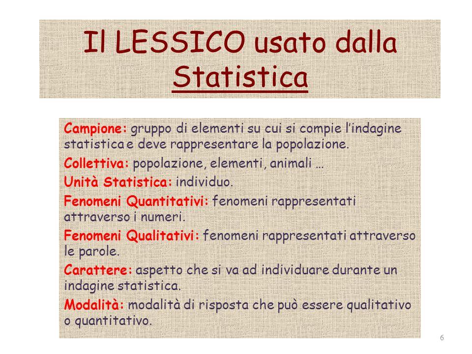 Il LESSICO usato dalla Statistica Campione: gruppo di elementi su cui si compie lindagine statistica e deve rappresentare la popolazione. Collettiva: