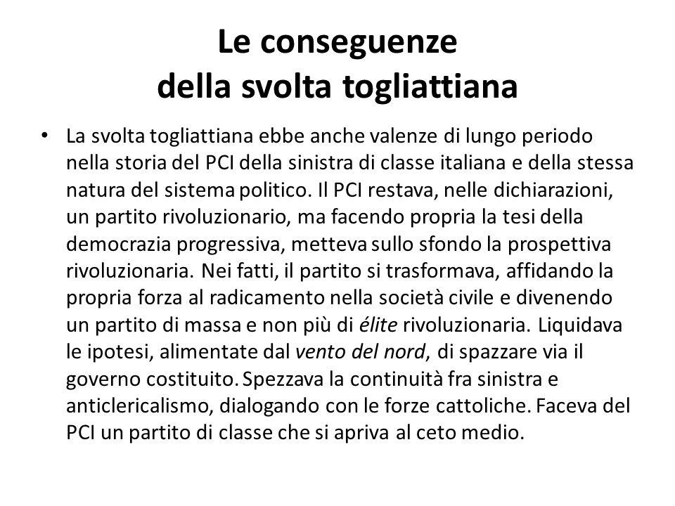 Le conseguenze della svolta togliattiana La svolta togliattiana ebbe anche valenze di lungo periodo nella storia del PCI della sinistra di classe ital