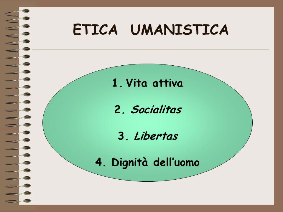 ETICA UMANISTICA 1.Vita attiva 2. Socialitas 3. Libertas 4. Dignità delluomo