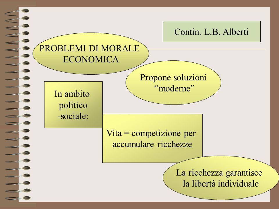 PROBLEMI DI MORALE ECONOMICA Propone soluzioni moderne In ambito politico -sociale: Vita = competizione per accumulare ricchezze La ricchezza garantis
