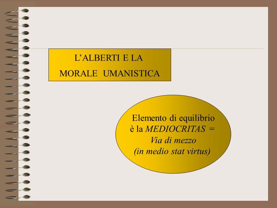 Elemento di equilibrio è la MEDIOCRITAS = Via di mezzo (in medio stat virtus) LALBERTI E LA MORALE UMANISTICA