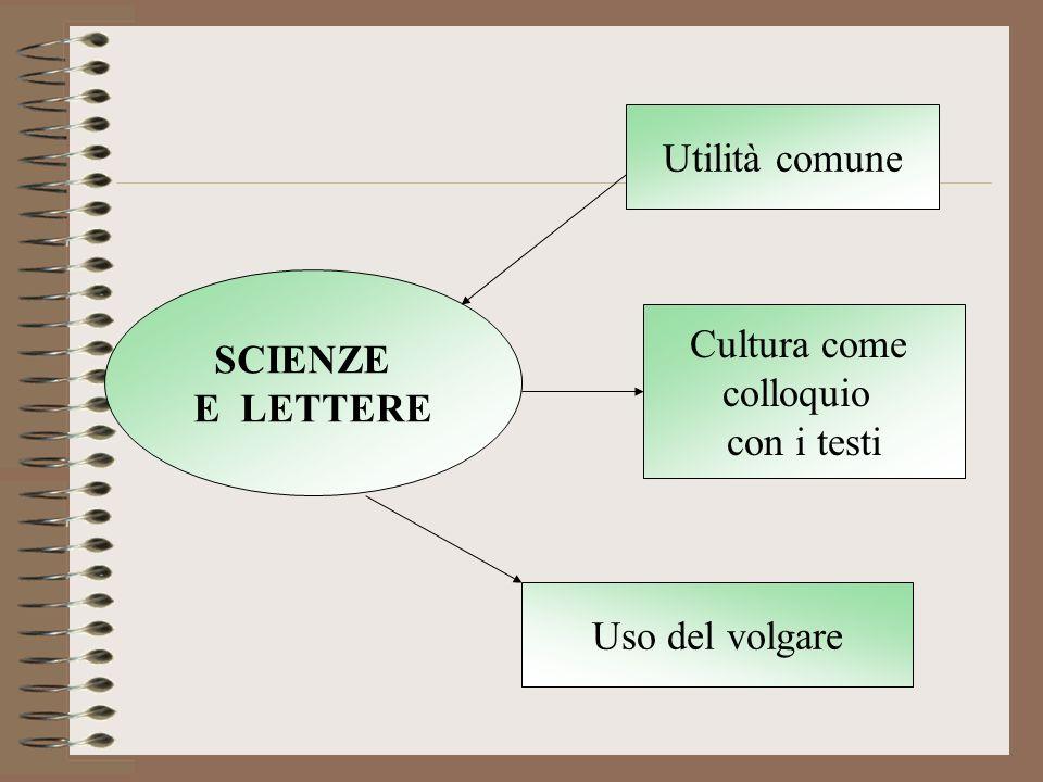 SCIENZE E LETTERE Utilità comune Cultura come colloquio con i testi Uso del volgare