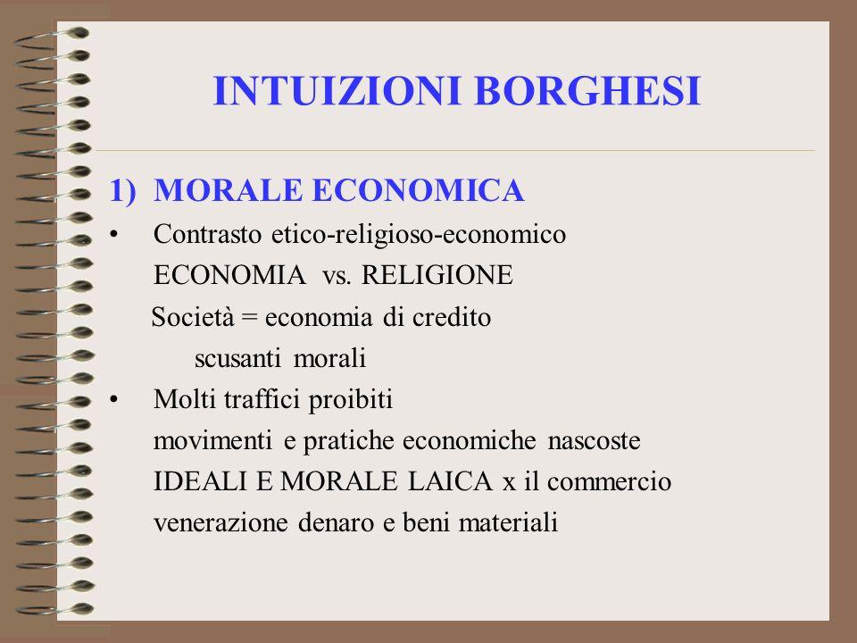 INTUIZIONI BORGHESI 1)MORALE ECONOMICA Contrasto etico-religioso-economico ECONOMIA vs. RELIGIONE Società = economia di credito scusanti morali Molti