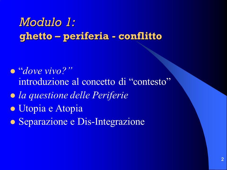 2 Modulo 1: ghetto – periferia - conflitto dove vivo? introduzione al concetto di contesto la questione delle Periferie Utopia e Atopia Separazione e