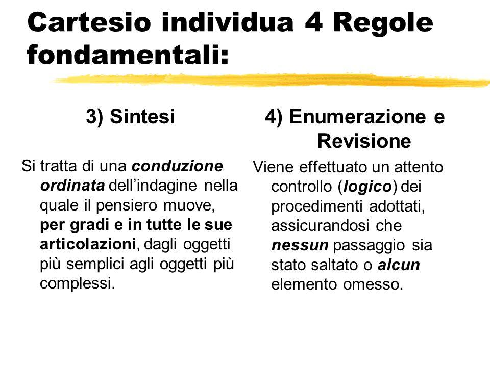 Cartesio individua 4 Regole fondamentali: 1) Evidenza non accogliere mai nulla per vero che non conosca esser tale con evidenza.