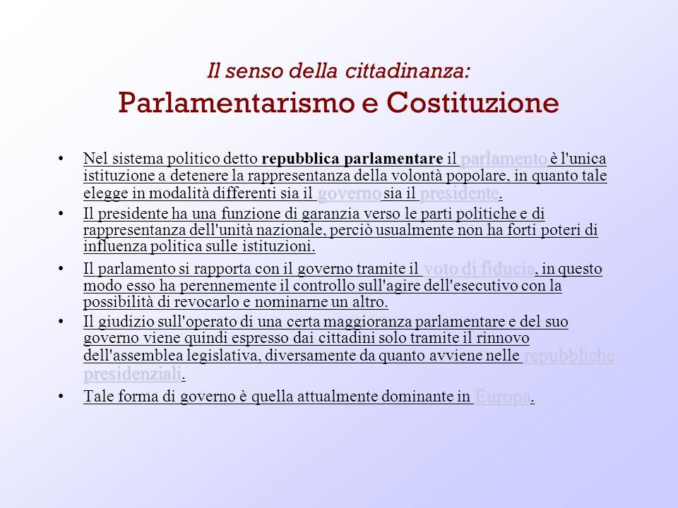 Il senso della cittadinanza: Parlamentarismo e Costituzione parlamento governopresidente parlamento governopresidenteNel sistema politico detto repubb