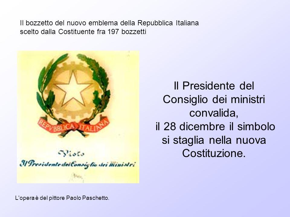 Il bozzetto del nuovo emblema della Repubblica Italiana scelto dalla Costituente fra 197 bozzetti L'opera è del pittore Paolo Paschetto. Il Presidente