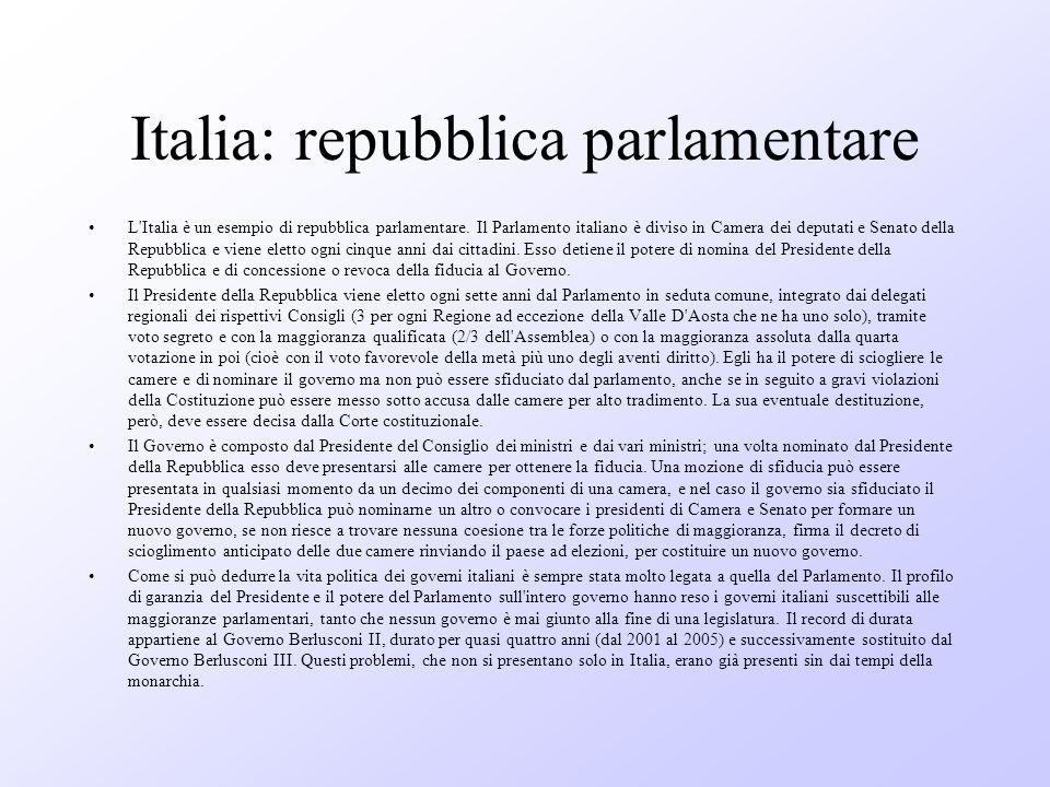 Italia: repubblica parlamentare L'Italia è un esempio di repubblica parlamentare. Il Parlamento italiano è diviso in Camera dei deputati e Senato dell