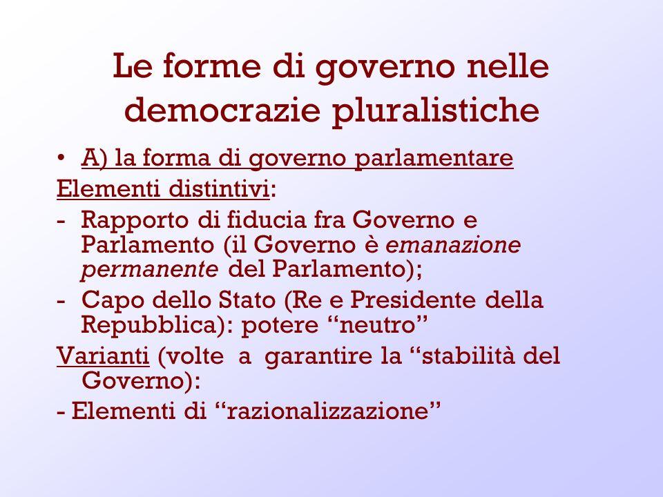 Le forme di governo nelle democrazie pluralistiche A) la forma di governo parlamentare Elementi distintivi: -Rapporto di fiducia fra Governo e Parlame