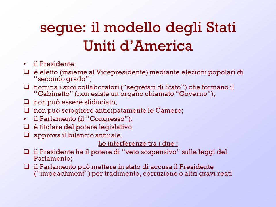 segue: il modello degli Stati Uniti dAmerica il Presidente: è eletto (insieme al Vicepresidente) mediante elezioni popolari di secondo grado; nomina i