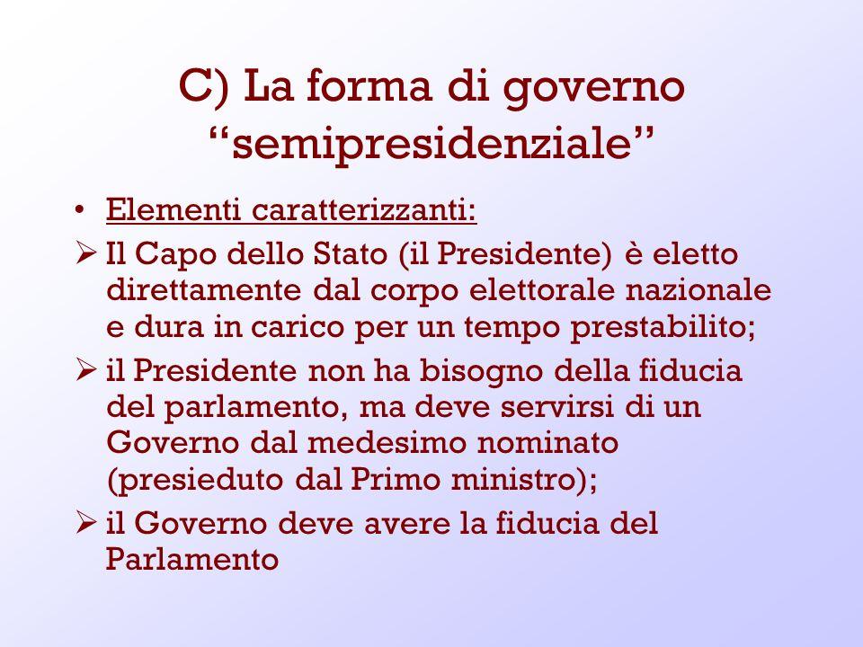 C) La forma di governo semipresidenziale Elementi caratterizzanti: Il Capo dello Stato (il Presidente) è eletto direttamente dal corpo elettorale nazi