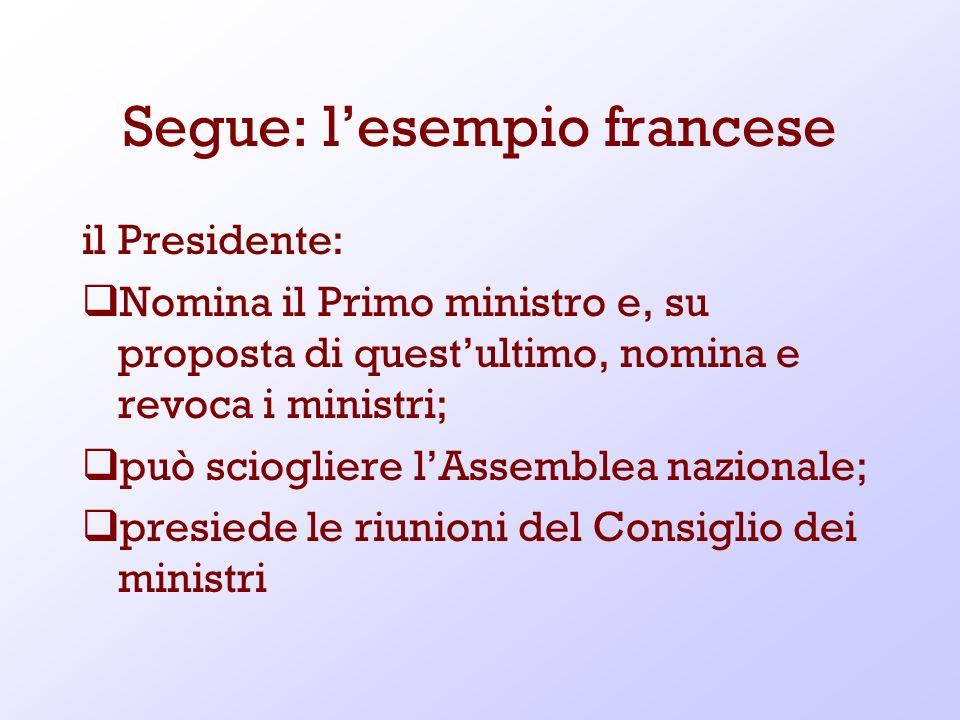 Segue: lesempio francese il Presidente: Nomina il Primo ministro e, su proposta di questultimo, nomina e revoca i ministri; può sciogliere lAssemblea