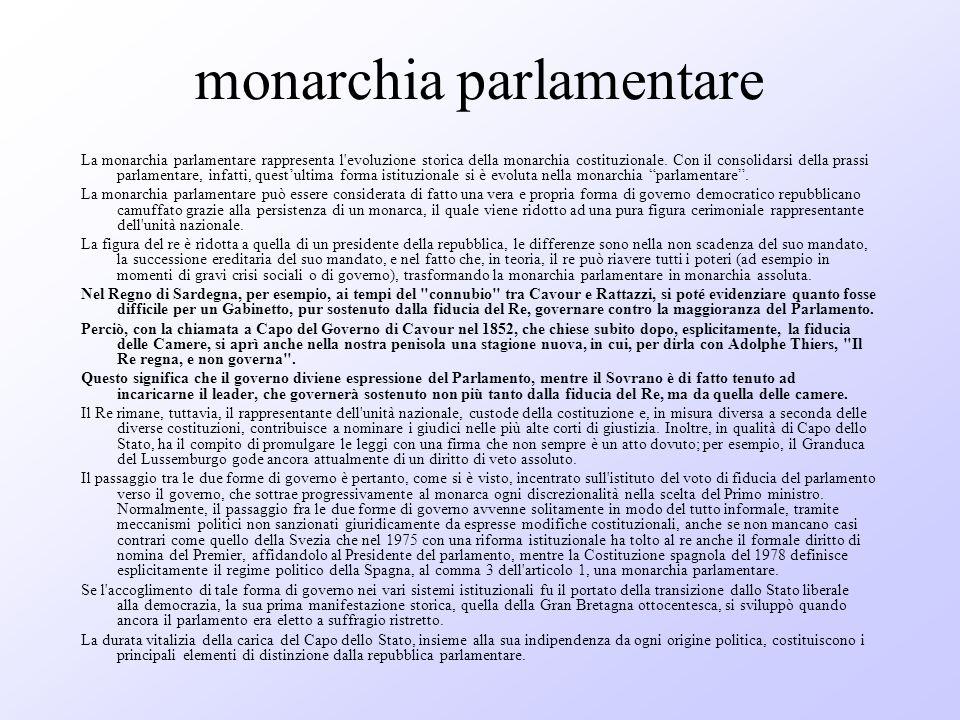 monarchia parlamentare La monarchia parlamentare rappresenta l'evoluzione storica della monarchia costituzionale. Con il consolidarsi della prassi par