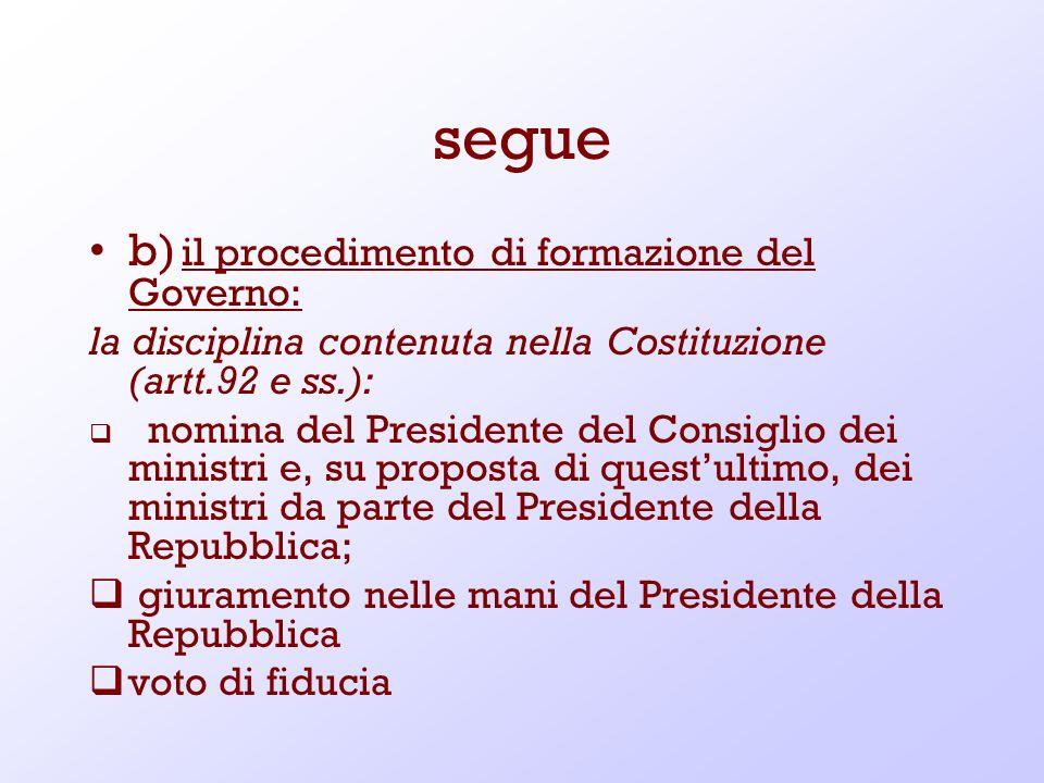 segue b) il procedimento di formazione del Governo: la disciplina contenuta nella Costituzione (artt.92 e ss.): nomina del Presidente del Consiglio de