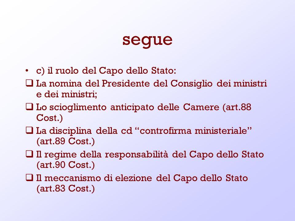 segue c) il ruolo del Capo dello Stato: La nomina del Presidente del Consiglio dei ministri e dei ministri; Lo scioglimento anticipato delle Camere (a