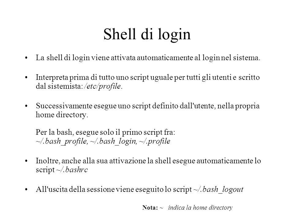 Shell di login La shell di login viene attivata automaticamente al login nel sistema.