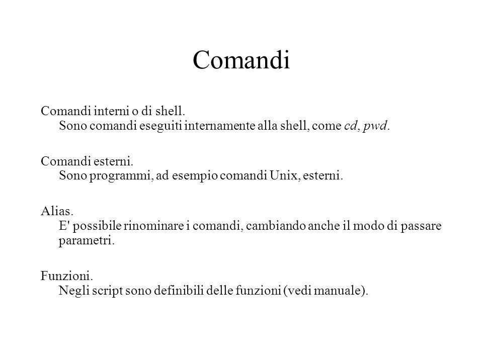 Comandi Comandi interni o di shell. Sono comandi eseguiti internamente alla shell, come cd, pwd.