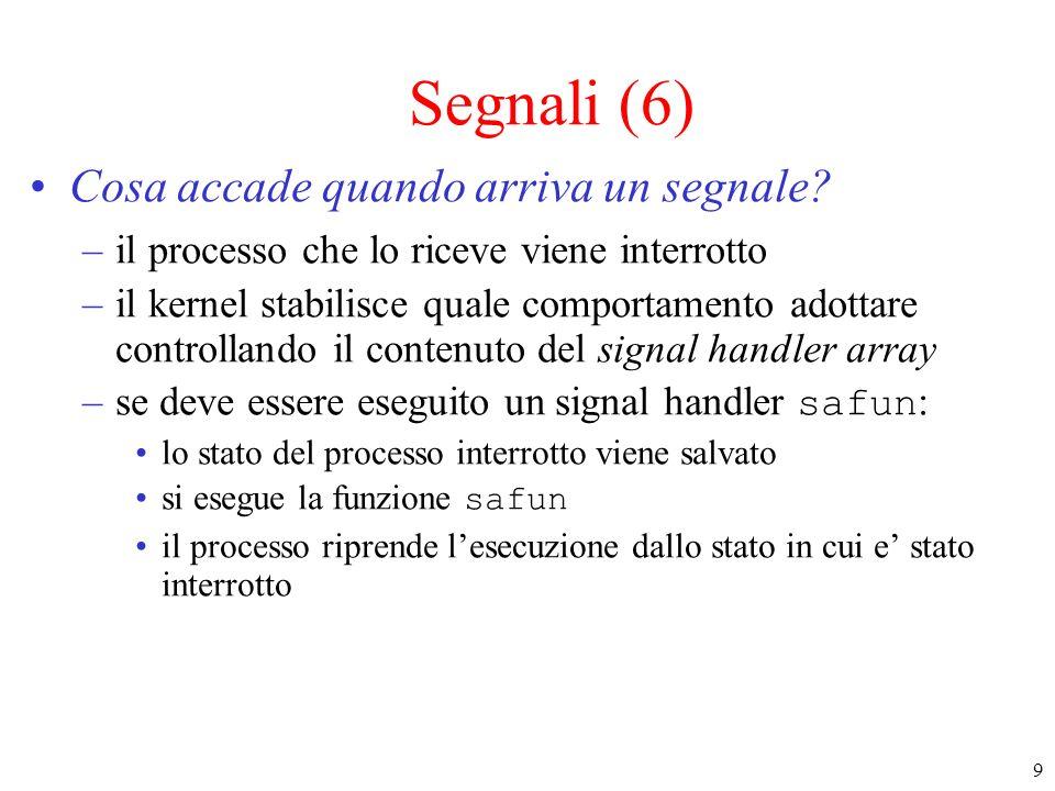 30 Invio di segnali: kill()(2) int kill(pid_t pid, int sig); –pid può essere >0, in questo caso è il pid del processo cui si deve inviare il segnale =0, in questo caso il segnale è inviato a tutti i processi del gruppo del processo che esegue la kill -1, in questo caso il segnale è inviato a tutti i processi (tranne init) se il processo è di root, altrimenti come (pid=0) < -1, in questo caso il segnale è inviato a tutti i processi del gruppo a cui appartiene pid