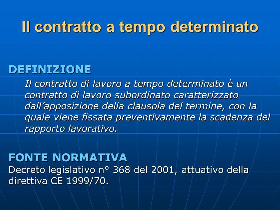 Il contratto a tempo determinato DEFINIZIONE Il contratto di lavoro a tempo determinato è un contratto di lavoro subordinato caratterizzato dallapposi