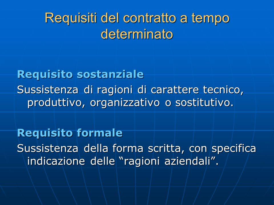 Requisiti del contratto a tempo determinato Requisito sostanziale Sussistenza di ragioni di carattere tecnico, produttivo, organizzativo o sostitutivo