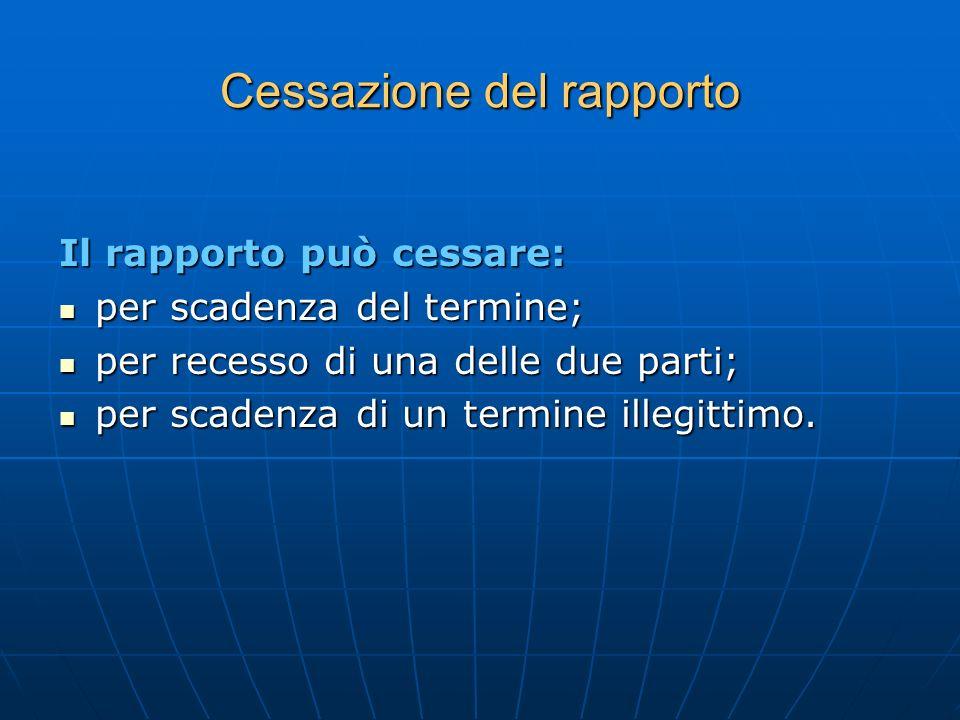 Cessazione del rapporto Il rapporto può cessare: per scadenza del termine; per scadenza del termine; per recesso di una delle due parti; per recesso d