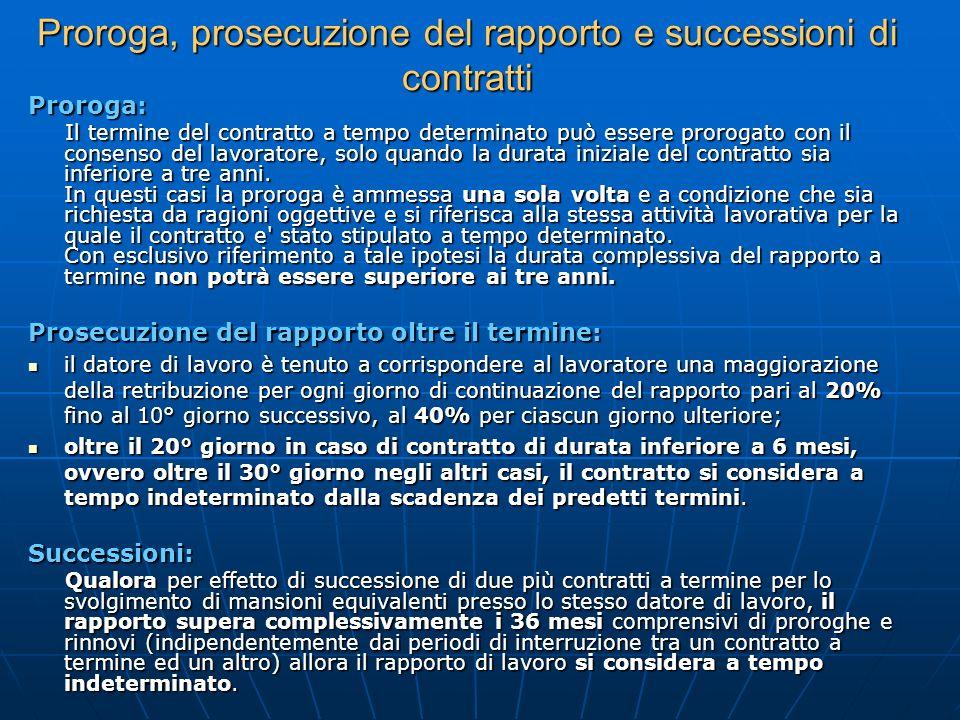 Proroga, prosecuzione del rapporto e successioni di contratti Proroga: Il termine del contratto a tempo determinato può essere prorogato con il consen