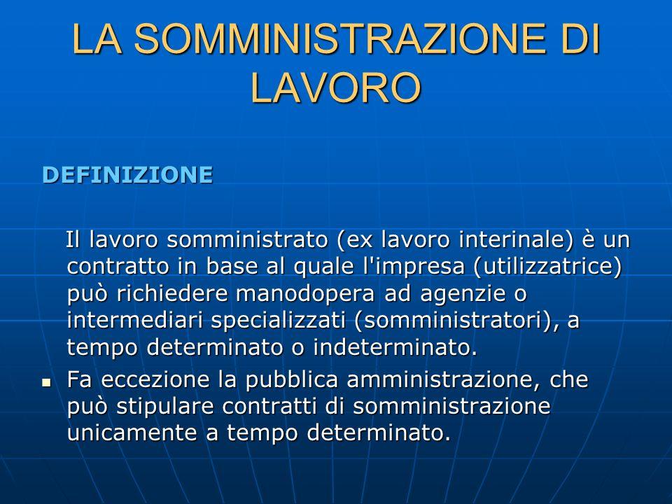 LA SOMMINISTRAZIONE DI LAVORO DEFINIZIONE Il lavoro somministrato (ex lavoro interinale) è un contratto in base al quale l'impresa (utilizzatrice) può