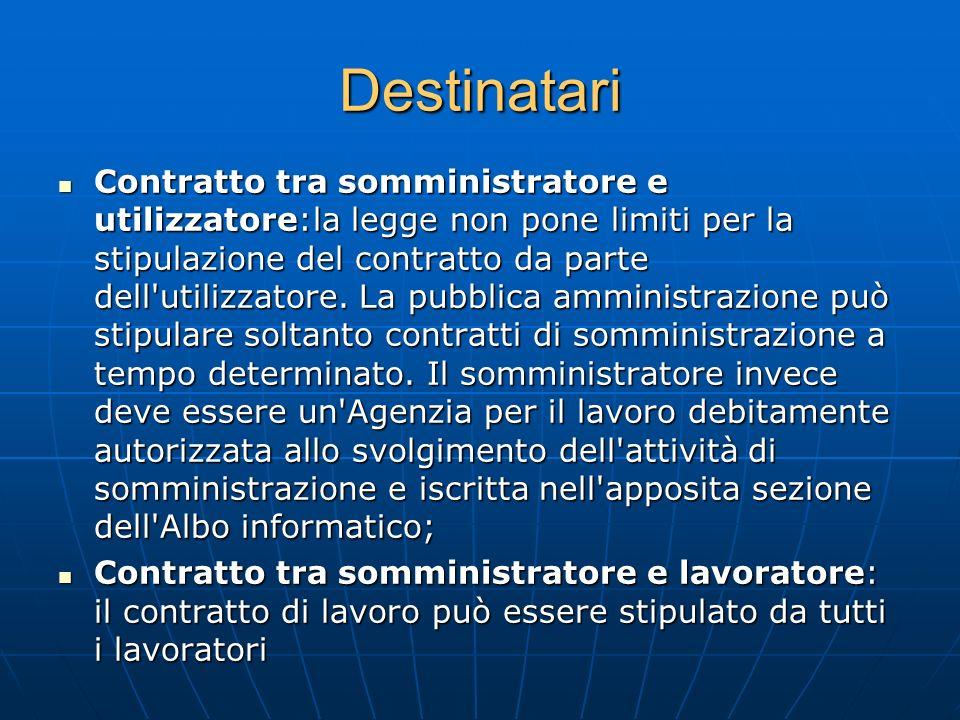 Destinatari Contratto tra somministratore e utilizzatore:la legge non pone limiti per la stipulazione del contratto da parte dell'utilizzatore. La pub