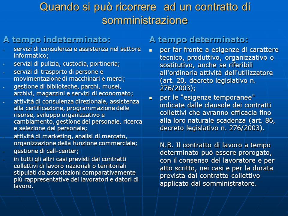 Quando si può ricorrere ad un contratto di somministrazione A tempo indeterminato: - servizi di consulenza e assistenza nel settore informatico; - ser