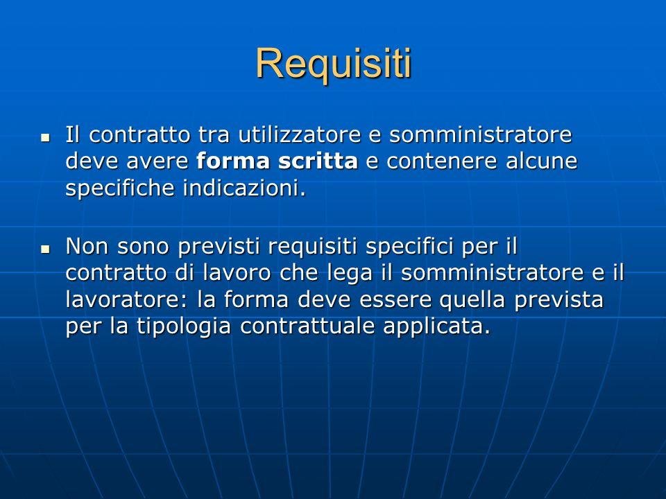Requisiti Il contratto tra utilizzatore e somministratore deve avere forma scritta e contenere alcune specifiche indicazioni. Il contratto tra utilizz
