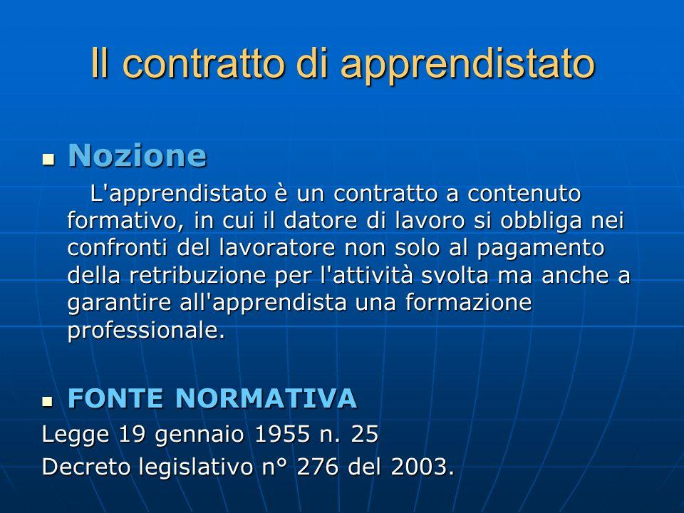 Il contratto di apprendistato Nozione Nozione L'apprendistato è un contratto a contenuto formativo, in cui il datore di lavoro si obbliga nei confront