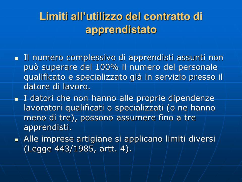 Limiti allutilizzo del contratto di apprendistato Il numero complessivo di apprendisti assunti non può superare del 100% il numero del personale quali