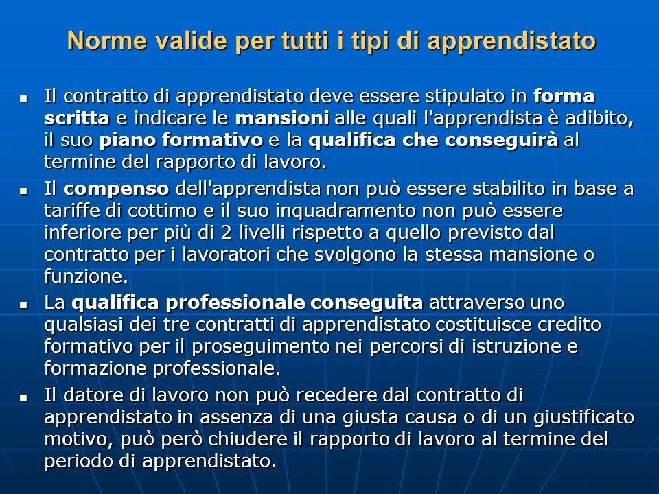 Norme valide per tutti i tipi di apprendistato Il contratto di apprendistato deve essere stipulato in forma scritta e indicare le mansioni alle quali