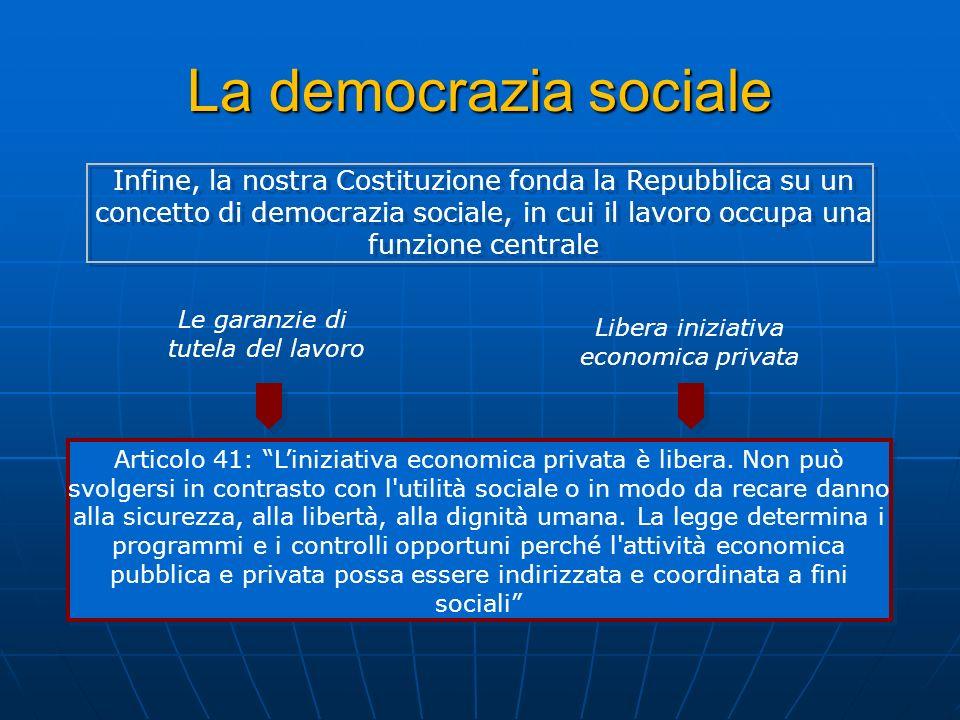 La democrazia sociale Le garanzie di tutela del lavoro Libera iniziativa economica privata Infine, la nostra Costituzione fonda la Repubblica su un co