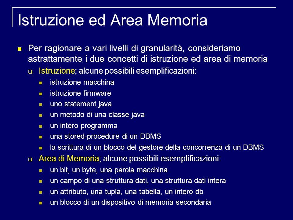 Istruzione ed Area Memoria Per ragionare a vari livelli di granularità, consideriamo astrattamente i due concetti di istruzione ed area di memoria Istruzione; alcune possibili esemplificazioni: istruzione macchina istruzione firmware uno statement java un metodo di una classe java un intero programma una stored-procedure di un DBMS la scrittura di un blocco del gestore della concorrenza di un DBMS Area di Memoria; alcune possibili esemplificazioni: un bit, un byte, una parola macchina un campo di una struttura dati, una struttura dati intera un attributo, una tupla, una tabella, un intero db un blocco di un dispositivo di memoria secondaria