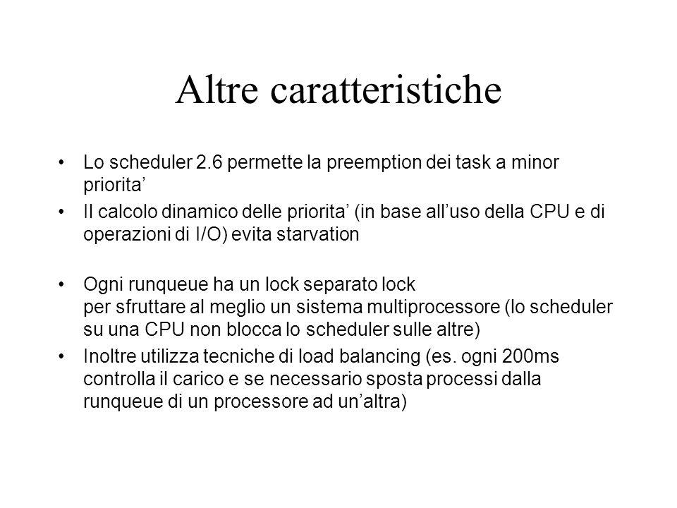 Altre caratteristiche Lo scheduler 2.6 permette la preemption dei task a minor priorita Il calcolo dinamico delle priorita (in base alluso della CPU e