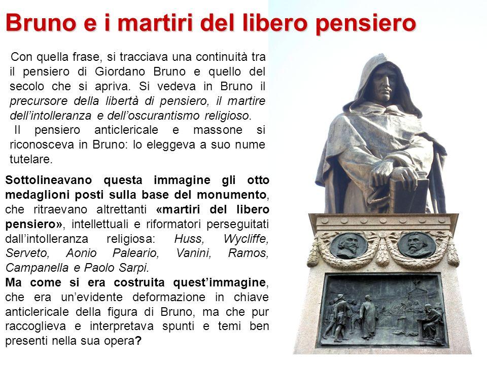 A Bruno, il secolo da lui divinato qui dove il rogo arse Finalmente il 9 giugno 1889, giorno di Pentecoste, venne inaugurato a Campo de Fiori, con la